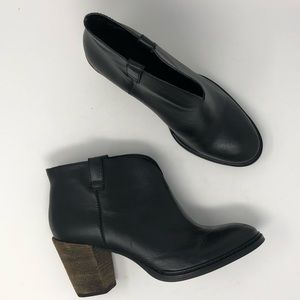 Steven Black Leather Ankle Boots Size 10